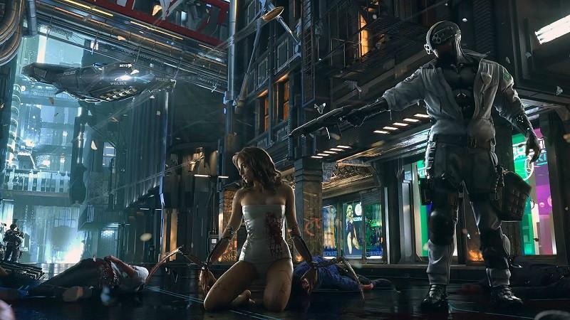 Cyberpunk 2077 teaser photo of an armed man holding a woman at gunpoint.