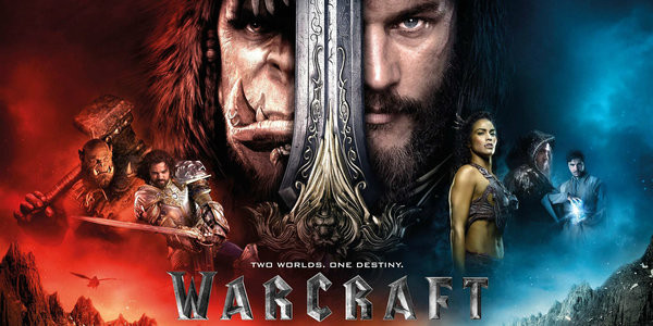 Warcraft movie poster featuring human and orc soldiers.