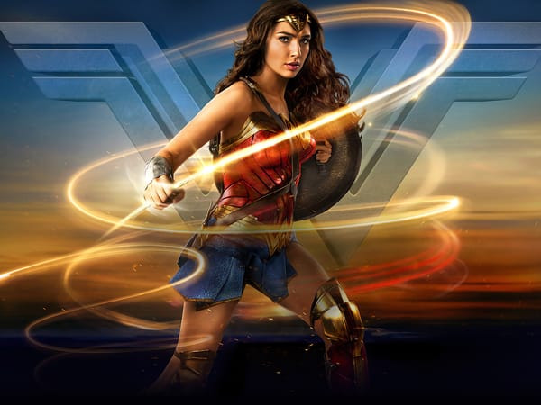 Gal Gadot as Wonder Woman, looking fierce with her whip.