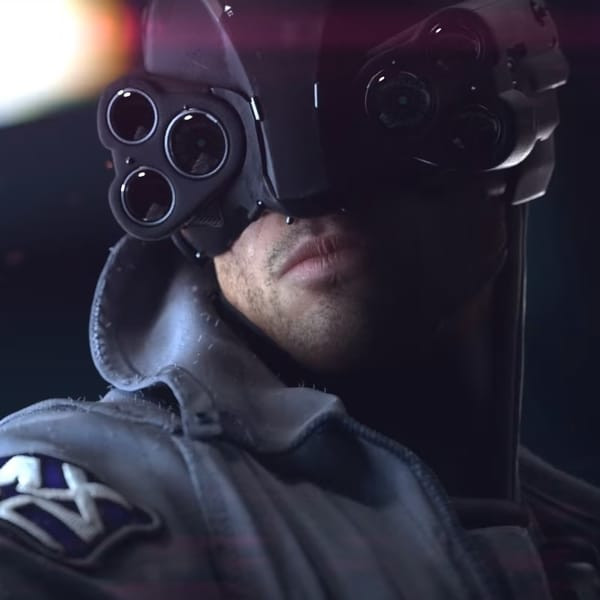 A police officer from the highly anticipated video game Cyberpunk 2077.