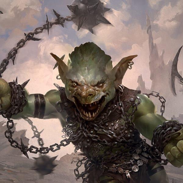 Goblin Chainwhirler looks menacing as he hurls his weapons through the air.