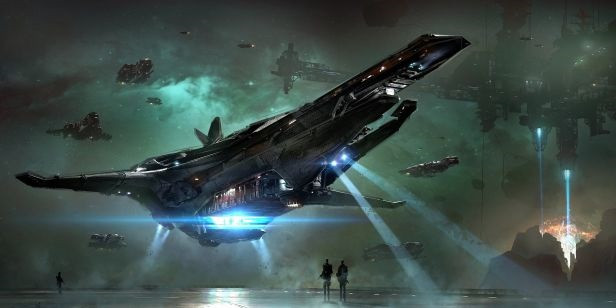 A futuristic sci-fi airplane prepares to touch down.