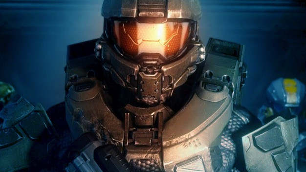 Master Chief from Halo in his suit of armor and helmet.