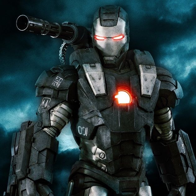 Marvel's War Machine with glowing chest and eyes.