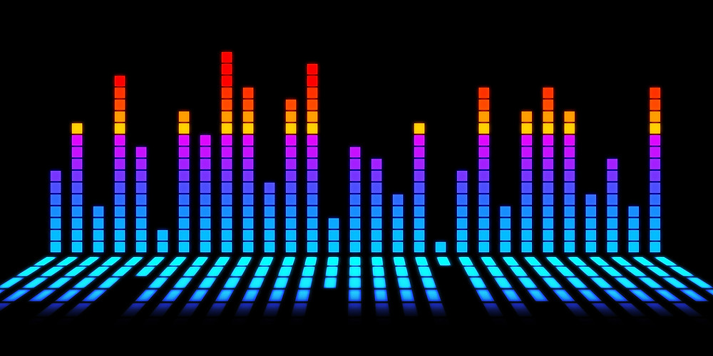 A colorful equalizer dancing to the beat of music.