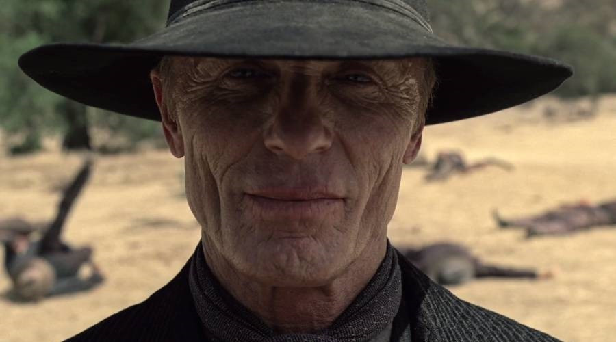 "Westworld's ""The Man In Black"" stares into the camera with experienced eyes."