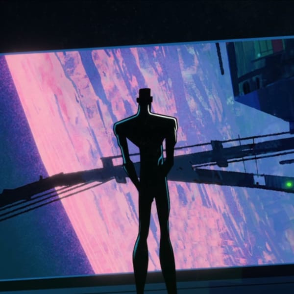 Android artist Zima Blue gazing out of a spaceship's window as he ponders the meaning of life.