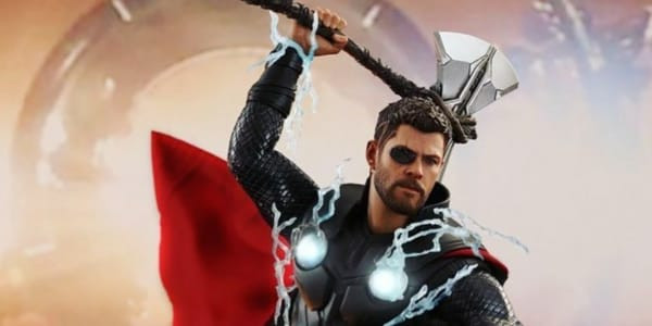 Thor descending into battle wielding a brand new axe.