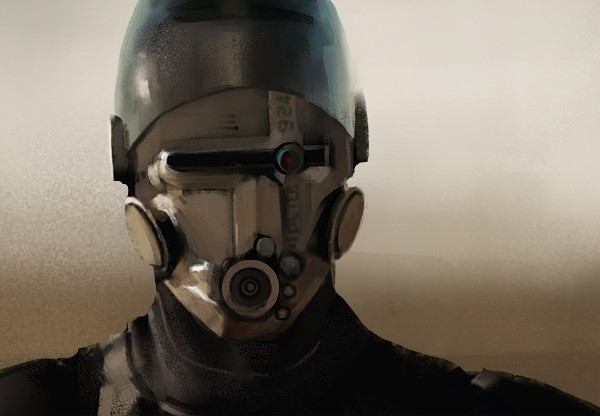A science fiction robot soldier of the future.