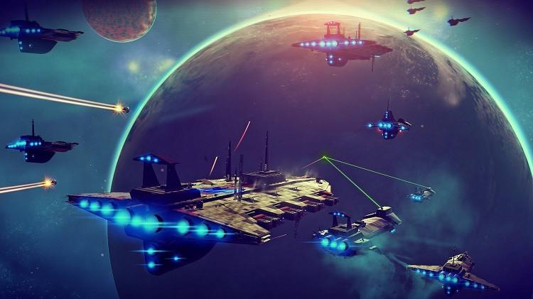 No Man's Sky spaceships flying toward an alien planet.