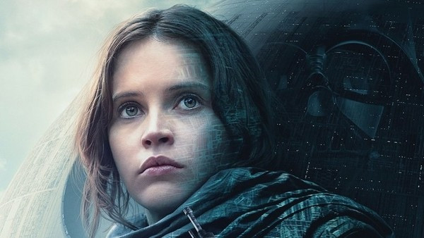 Rogue One Poster showing Jyn Erso standing in front of the Death Star.
