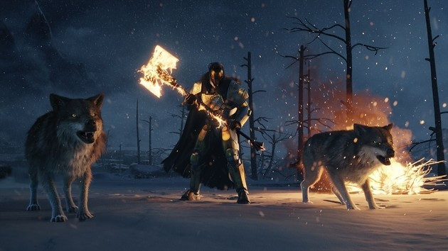 Destiny Rise of Iron art featuring a flaming axe and angry wolves.