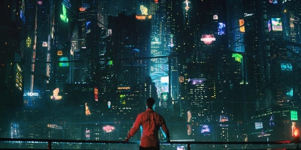 Takeshi Kovacs rests his hands on a rail while admiring a futuristic cityscape.