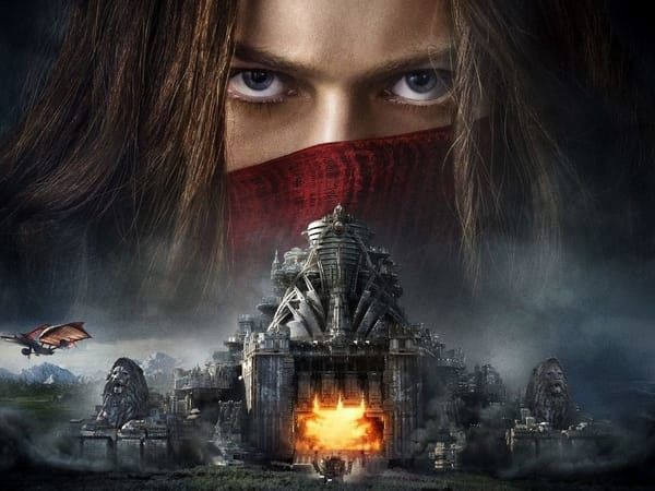 A Mortal Engines Film Poster In Which Hester Shaw's Face Is Superimposed Over An Image Of London.