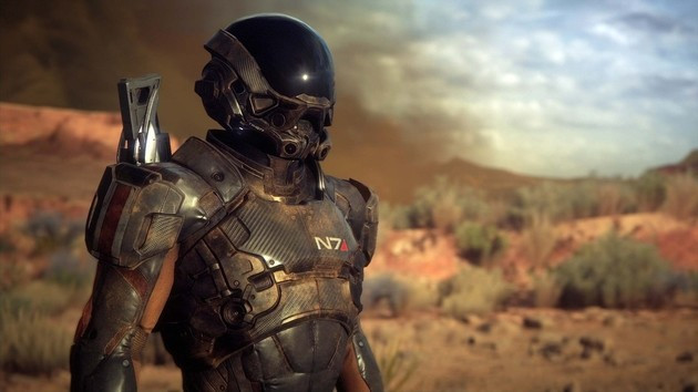 An N7 special forces member from Mass Effect Andromeda stands against a desert backdrop.