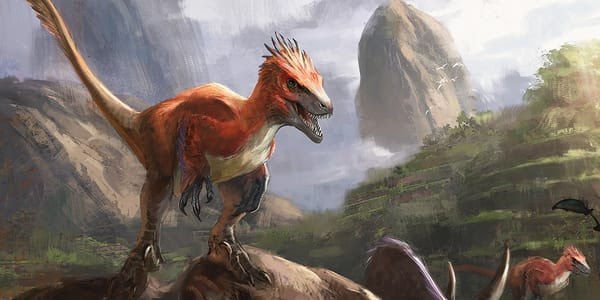 Rampaging Ferocidon looks angry as he sits atop another dinosaur.