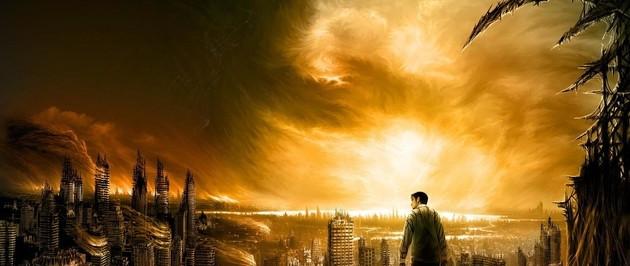 A man wanders through a hazy, dystoptian city.