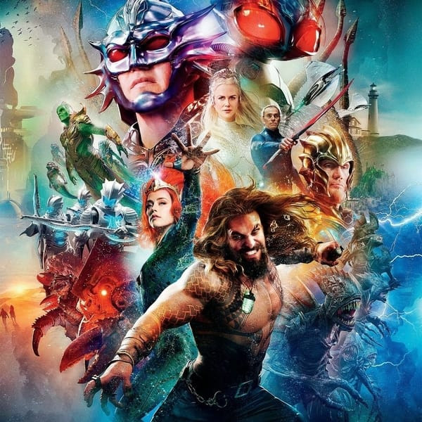 A Colorful Aquaman Film Poster Portraying A Collage Of The Film's Characters.