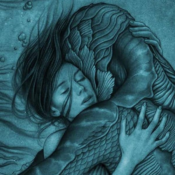 Elisa Esposito and the Amphibian Man embrace one another underwater.