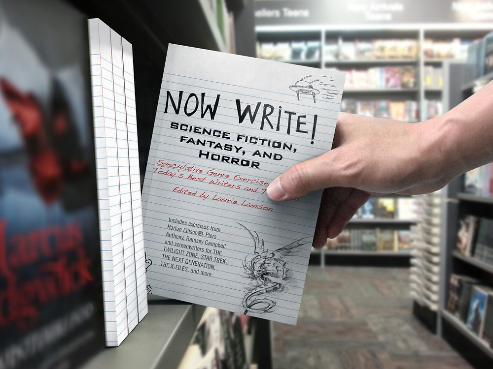 A patron at a bookstore places a reference book on writing back on the shelves.