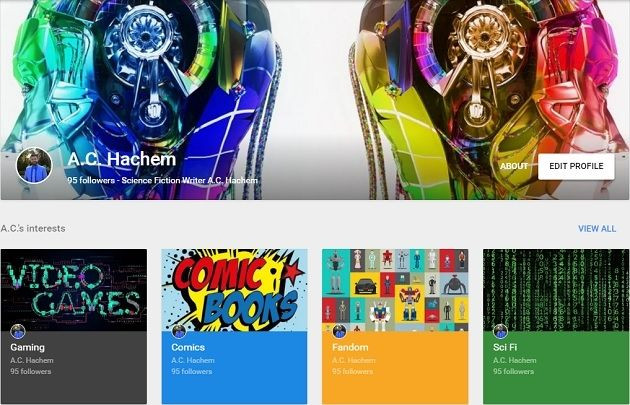 A screenshot of A.C. Hachem's Google+ profile.