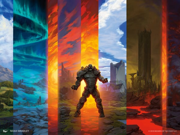 Dominaria's Karn seems conflicted as he stands among a colorful landscape.