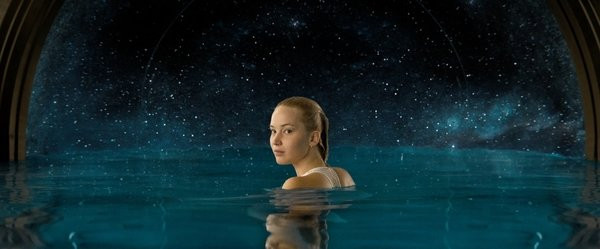 Aurora Lane takes a dip in a pool overlooking the cosmos.