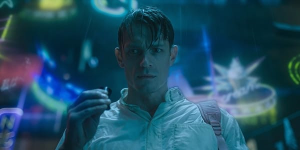Altered Carbon's main character roaming around Downtown while high on drugs.