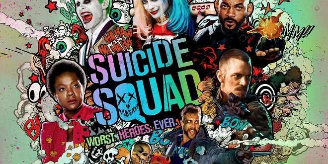 A colorful Suicide Squad poster featuring many of the film's characters.