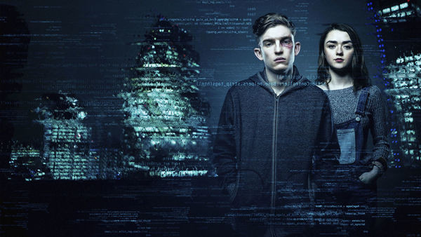 iBoy's Tom and Lucy posing in a digital, urban cityscape.