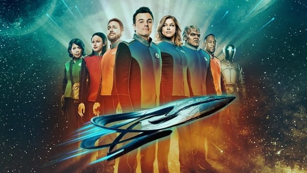 "The cast of FOX's ""The Orville"" pose with their ship, the USS Orville."