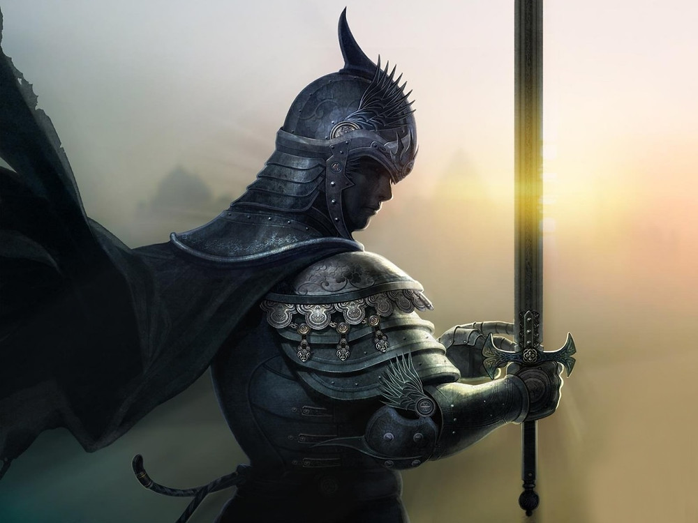 A knight in armor lifting his sword as the sun sets.