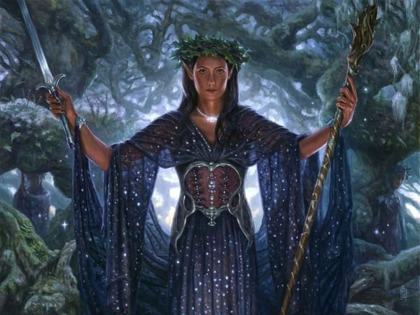 An elf lord raises a sword and staff among an enchanted forest.