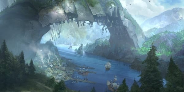 """""""Our ancestors brought down a Phyrexian portal ship, then built our town on its hull. We're pretty proud of that."""" —Alene of Riverspan"""