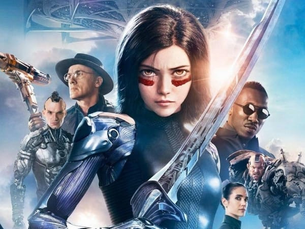 The Main Characters of Alita: Battle Angel Standing Beneath The Last Floating City of Zalem