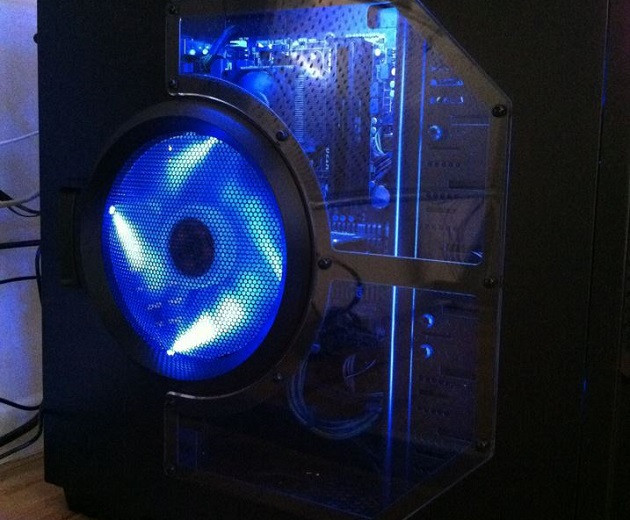 My First Gaming PC, full of blue L.E.D.'s and lights.