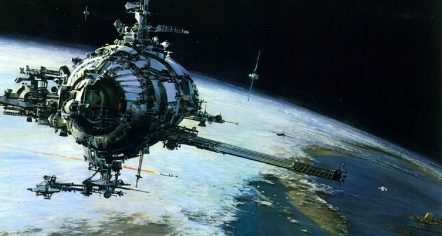 Art depicting a space colony orbiting Earth.
