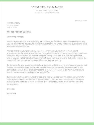 March 2019 Cover Letter | the part two