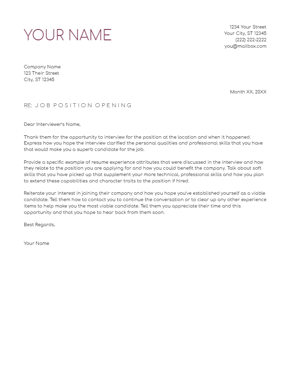 August 2019 Follow Up Letter   the part two