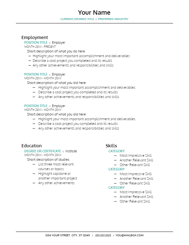 January 2019 Resume | the part two