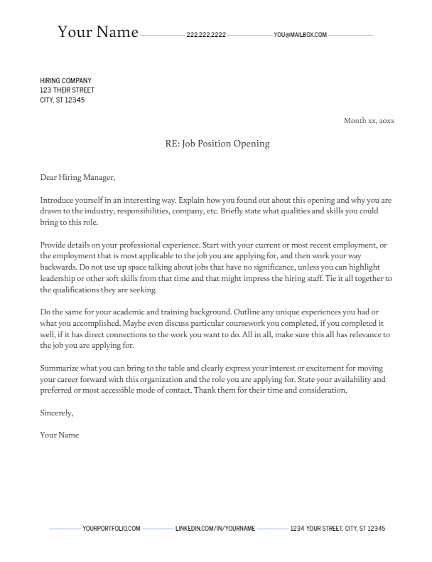 April 2019 Cover Letter | the part two