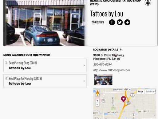 YOU VOTED TATTOOS BY LOU MIAMI NEWTIMES BEST OF MIAMI, AGAIN!