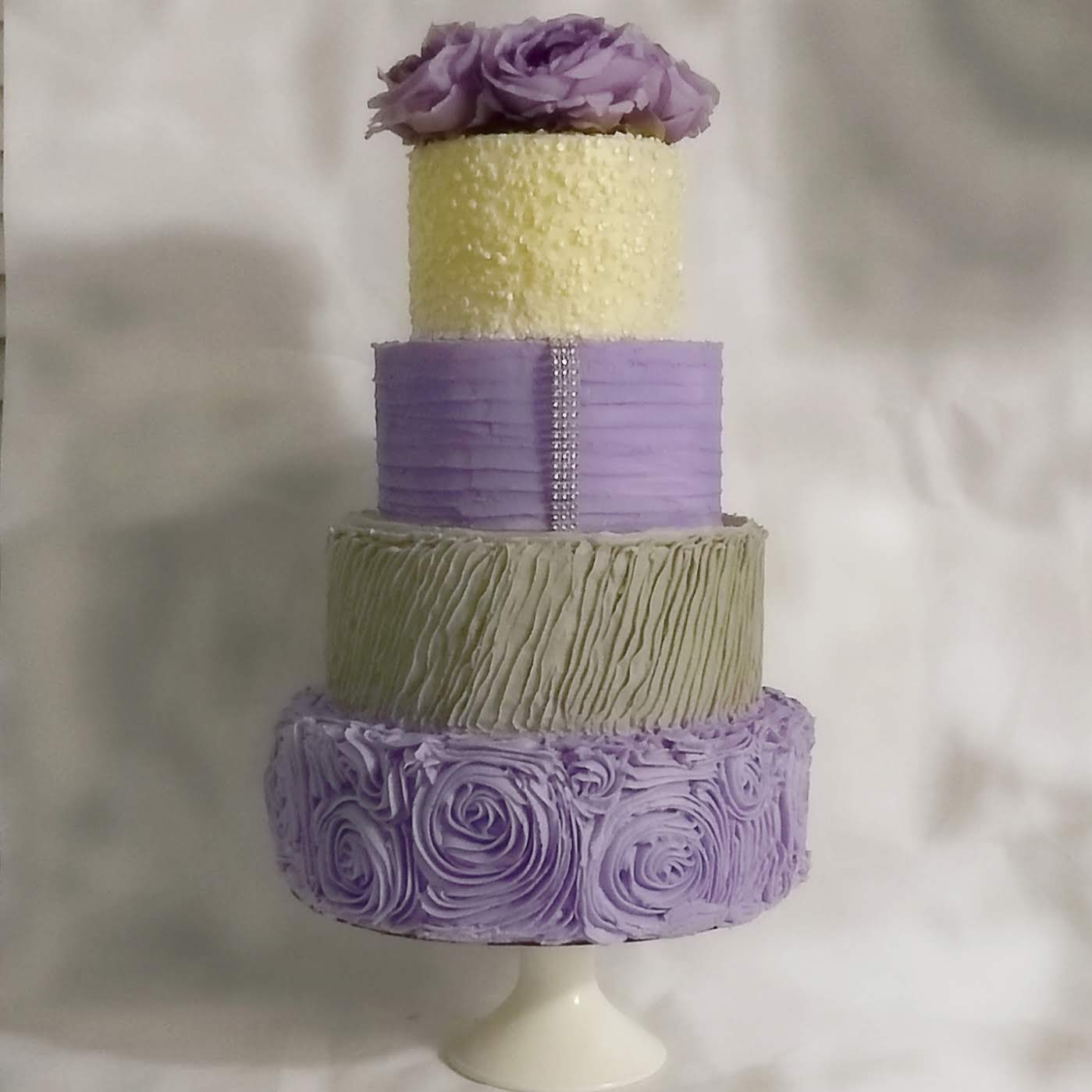 A Stunning 4 Tier Buttercream Wedding Cake