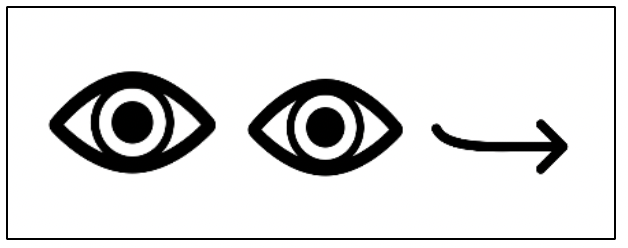 simple illustration of eyes with arrow pointing away to the right.