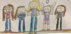 Kids drawing of Kelly and four girls all smiling.
