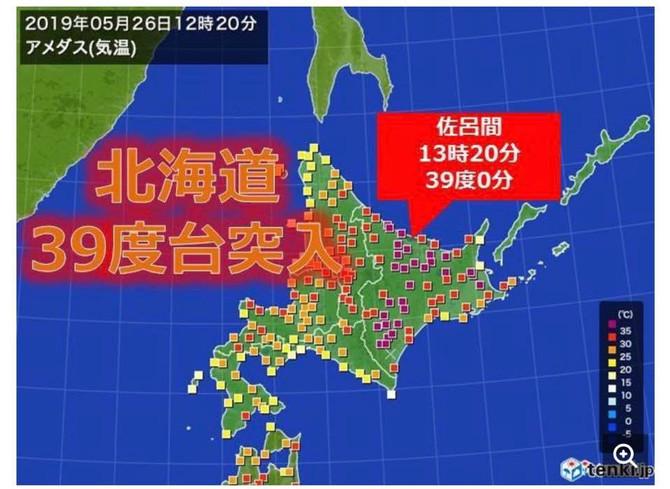 北海道今天攝氏39度?