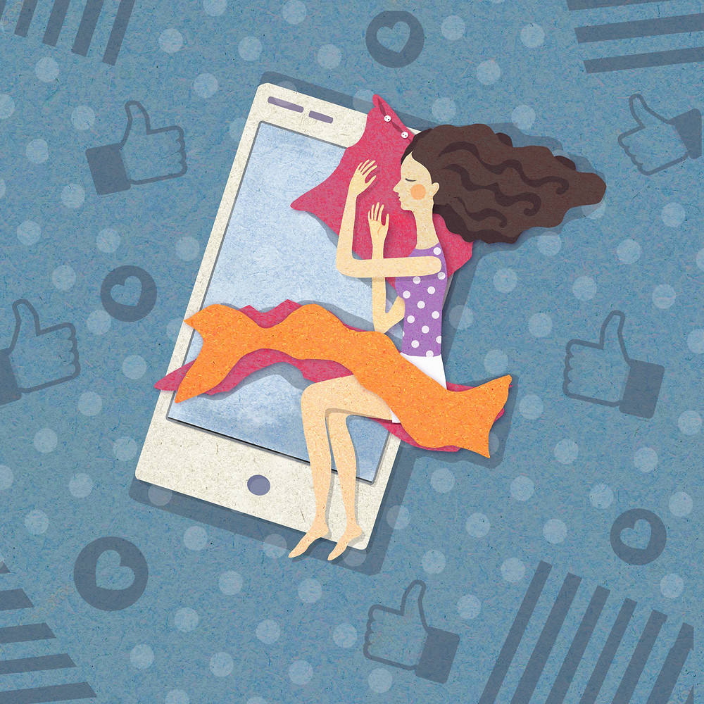 an illustration of a blue background with social media likes and hearts and follows from popular social media apps like Instagram and Facebook and TikTok on top is a large white smartphone and sleeping on it like a bed is a woman in nightwear with her hair flowing using the phone as a bed, under her head is a pillow and a small blanket covers her waist