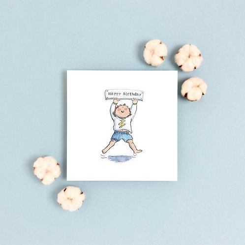 Jumping Boy Birthday Banner Greetings Card