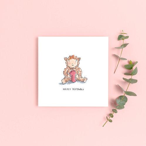 Girl Age 1 Birthday Card