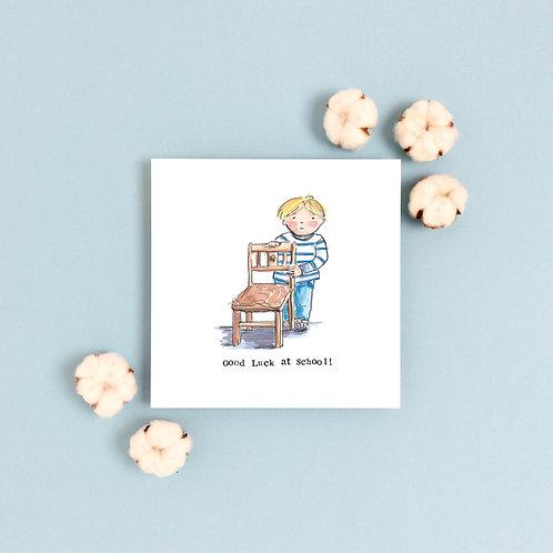 Boy 'Good luck at School' Greetings Card